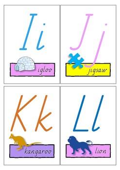 Alphabet letters - SA Modern cursive font flip book