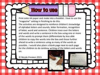 Alphabet letters , sounds, words and sentences workbook ZB FONT