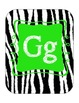 Alphabet line (zebra print with lime)