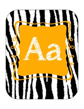 Alphabet line (zebra print with orange)