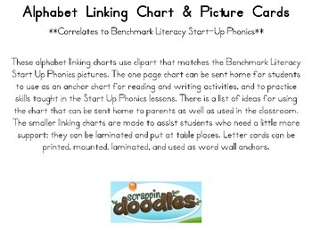 Alphabet linking chart, table tags, word wall Benchmark Literacy