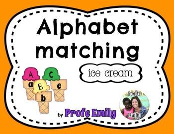 Spanish bilingual alphabet case matching (Ice cream)