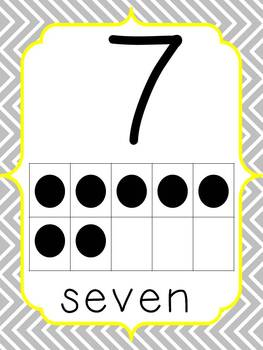 Alphabet, number, and color word cards---gray and yellow chevron