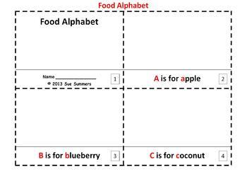Alphabet of Food 2 Emergent Reader Booklets