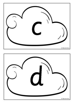 Alphabet on Clouds - Separate Upper and Lower Cases