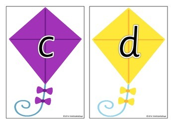Alphabet on Kites - Separate Upper and Lower Cases