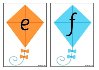 Alphabet on Kites - Upper and Lower Case