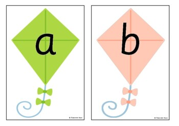 Alphabet on Kites - Upper and Lower Case