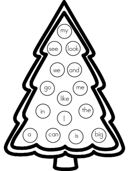 Alphabet or Sight Word Christmas Tree Cover Up FREEBIE