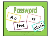 Password with alphabet, number, color, and sight word cards