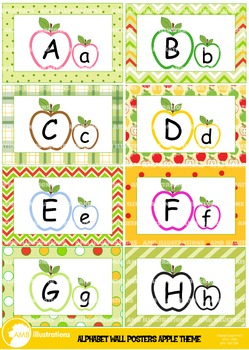Clipart Wall posters Alphabet Apple Theme Classroom AMB-1001