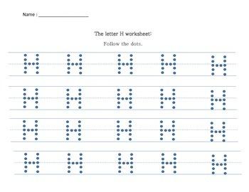 Alphabet practice writing sheets: Letter H, I, J, K, L, M, N