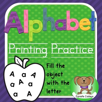 Alphabet printing book  - fill the object with letters Kindergarten