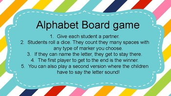 Alphabet recognition board game 8.5x11