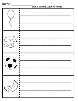 Alphabet sentence worksheets for every letter with pictures!