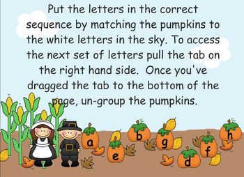 Alphabet sequencing activity - Thanksgiving