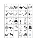 Alphabet sheet with BW pictures. Letter sounds with pictures.