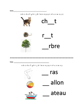Alphabet sign-in French words, missing letters, letter sounds