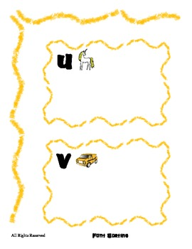 Alphabet sorting by Font for letters U V W X - File Folder Literacy Center