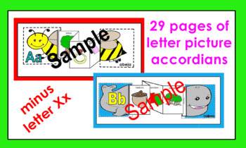 Alphabet (spanish) Letter picture accordians coloring activities (29 letters)
