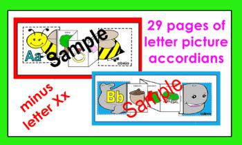 Alphabet (spanish) Letter picture accordians coloring activities (29 letters)