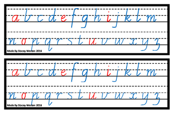 Alphabet strips - coloured vowels - Vic cursive