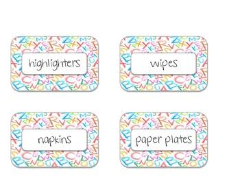 Alphabet supply labels