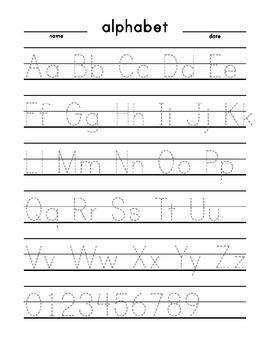 Alphabet trace (large print dashed) English