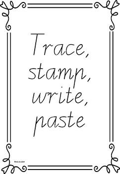 Alphabet trace, stamp, write, paste