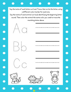 Alphabet tracing and beginning sound identification