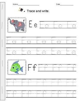Alphabet tracing booklet