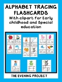 Alphabet tracing flashcards with clipart