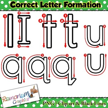 Alphabet tracing letters: correct formation colored font clip art