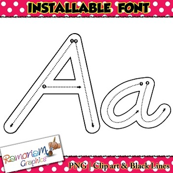 Alphabet tracing letters font (D'Nealian), correct letter formation fonts