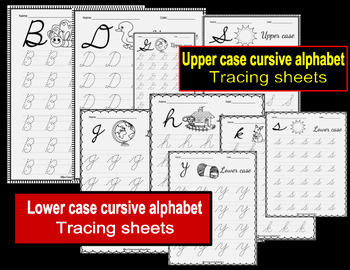 Alphabet (upper and lower case) cursive tracing sheets