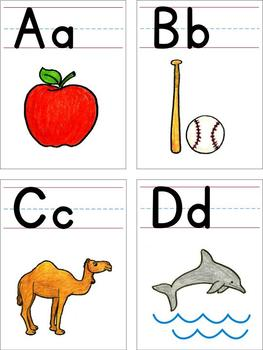 Alphabet - wall cards, desk strips, word wall cards and flash cards