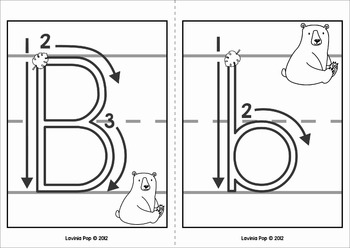 alphabet handwriting cards with directional arrows wild animals. Black Bedroom Furniture Sets. Home Design Ideas