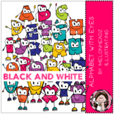 Alphabet with Eyes clip art - Black and White