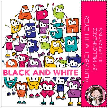 Alphabet with Eyes clip art - Black and White - Melonheadz Illustrating