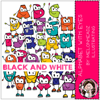 Alphabet with Eyes clip art - Black and White - by Melonheadz Illustrating