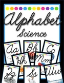 Alphabet with Real Pictures {Cursive, Science, Black Neon}