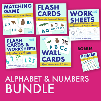 Alphabet Bundle with animals and numbers