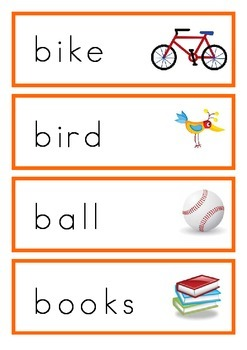 Alphabet word wall card with image