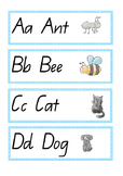 Alphabet, words and matching picture display cards QLD Beginner