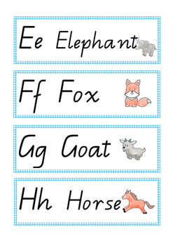 Alphabet, words and matching picture display cards QLD cursive