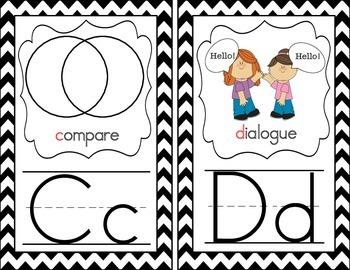 Alphabet Cards with Language Arts Vocabulary