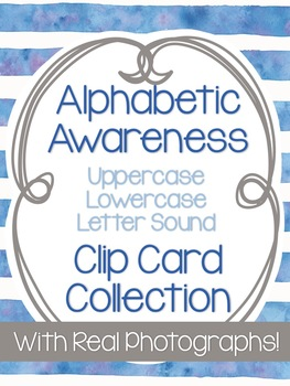 Alphabetic Awareness Watercolor Clip Card Collection (With Real Photos)