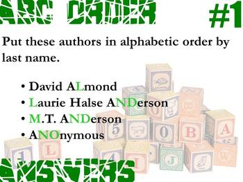Alphabetic Order Practice - Author by Last Name