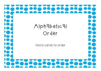 Alphabetic order literacy center