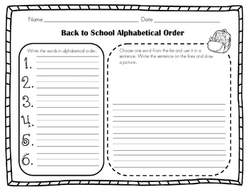 Alphabetical (ABC) Order for the School Year!